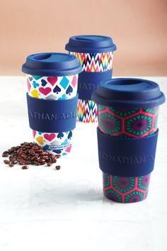 Jonathan Adler On the Go Mugs - See Jane Work Catalogue Layout, Thermal Mug, Jonathan Adler, Mug Cup, Business Design, Packaging Design, Tea Pots, Cool Designs, Design Inspiration
