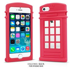 Brand London Style Red Telephone Booth Series Silicone Case for iPhone 5 5S