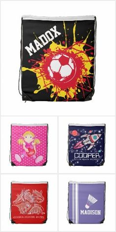 Kids personalized drawstring bags © designed by Sarah Trett www.mylittleeden.com #kidsbags #namebags #schoolbags #namebags #kitbag #backtoschool