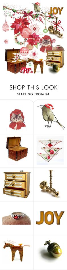 """""""JOY"""" by weelambievintage ❤ liked on Polyvore featuring Baldwin, vintage, Christmas, jewelry and gifts"""
