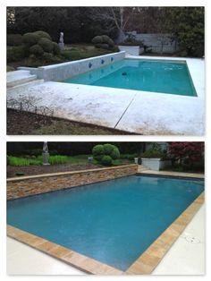 Pool Renovation...Travertine coping, Pebble Sheen in Blue Granite, split face travertine on raised wall