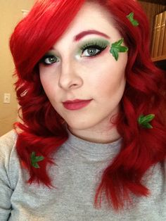 Poison Ivy makeup and hair red green