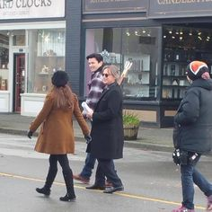 Belle and rumple filming with Gaston