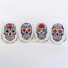 Sugar Skull Wine Glasses These hand painted stemless glasses make unforgettable gifts for your Valentine ❤💀