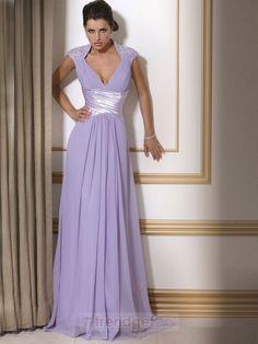 Cheap A-line V-neck Floor-length Chiffon Appliques Lavender Mother of the Bride Dresses - $115.99 - Trendget.com