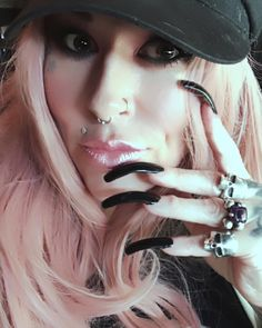 Real Long Nails, Long Black Nails, Sexy Nails, Toe Nails, Long Square Nails, Curved Nails, Long Fingernails, Black Manicure, Cover Girl Makeup