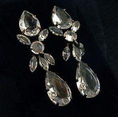 Huge Schreiner Vintage Open-Back Crystal & Rhinestone Statement Pendant Earrings   eBay