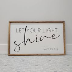Let your light shine large wood sign home decor wall