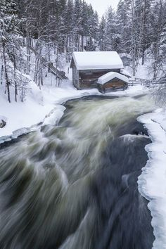 An poster sized print, approx (other products available) - Myllykoski Mill in Winter, Oulanka National Park, Kuusamo, Finland - Image supplied by AWL Images - Poster printed in Australia Fine Art Prints, Canvas Prints, Framed Prints, Arctic Circle, Travel Images, Winter Scenes, Poster Size Prints, The Good Place, National Parks