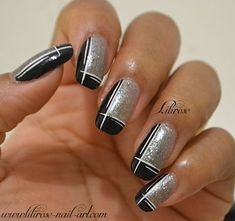 black and silver design nails - Google Search