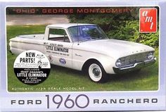 "TECH NOTES This is the 1/25 Scale 1960 Ford Ranchero ""Ohio George"" Plastic Model Kit from AMT. Suitable for Ages 10 & Up. FEATURES: Highly detailed plastic pieces molded in white and clear New 1960 gr"
