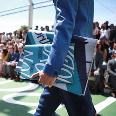 The Burberry Spring/Summer 2015 writer's notebook with typographic prints and shades of blue