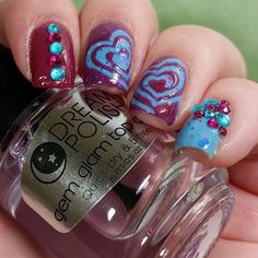 Love this color combo & heart swirls from the lovely @candiedapplepolish! - Heart Swirl Nail Vinyls  snailvinyls.con