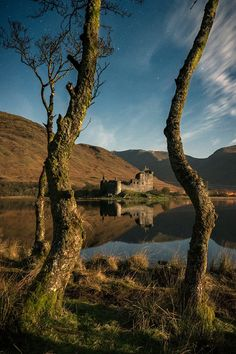 Kilchurn Castle & Loch Awe under the lights of a moon, Argyll, Scotland.