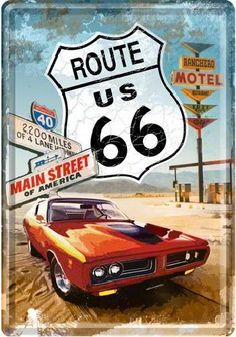 Route 66 Main Street Metalen Postcard 10 x 14 cm . Route 66 Usa, Route 66 Road Trip, Travel Route, Travel Oklahoma, Pin Up Vintage, Vw Vintage, Vintage Signs, David Mann Art, Custom Harleys