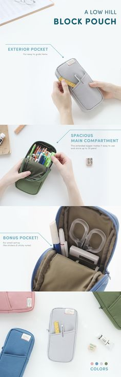 So useful! Never be without your favorite writing utensils and stationery supplies with the A Low Hill Block Pouch. It has 1 open pocket on the outside for easy to grab items. The main compartment has an extended zipper as well as a small pocket inside! The lined interior is spacious and can hold up to 25 pens & pencils. You can also carry a mix of craft, planner, and school supplies, too! It's a verstaile pouch perfect for students, business people, and everyone in between. So, check it…