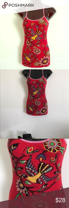 Free People tank with print. Size Sm. No flaws Perfect fun printed tank by Free People. Top is red with pink straps. No defects. It fits perfectly! Free People Tops Tank Tops