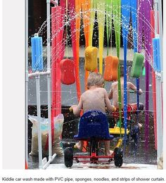 PVC pipe, swimming pool noodles, sponges, and shower curtain cut into strips... lots of summer fun!