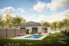 Architectural visualization of simple bungalow.