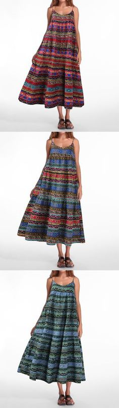 US$23.76 Gracila Bohemian Printed Spaghetti Strap Vintage Maxi Dresses