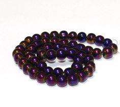 55 x perle electroplate Violet reflet irisé 6mm, en Verre, Forme ronde -- PVE-0016.3 : Perles en Verre par crehando