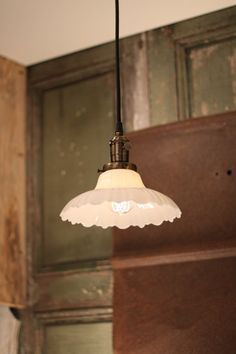 Milk Glass Lighting with Vintage 1930's Sheffield Style Milk Glass and Exposed Socket