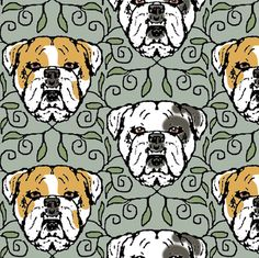 English Bulldog Portraits with Vines fabric by eclectic_house on Spoonflower - custom fabric