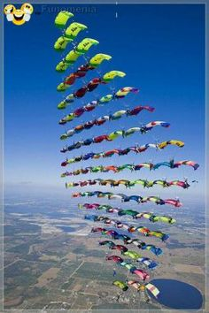 amazing pictures - Vertical formation skydiving ... speaking is easy doing hard #skydiving #vertical #sky #parachute #fall #amusing #joke #funny - Funomenia