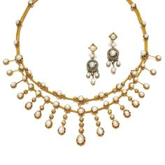 NATURAL PEARL AND DIAMOND NECKLACE AND PAIR OF EARRINGS, MELLERIO, CIRCA 1870, Antique Jewelry