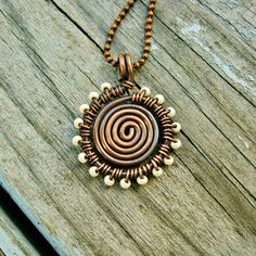 Antiqued Copper Wire Wrapped Spiral Pendant Necklace with