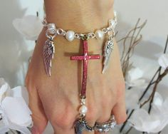 Cross Angel Pearl Slave Bracelet Ring by TheMysticalOasisGlow, $25.00