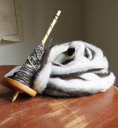 Spindle Spinning Jacob Sheep's Wool