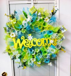 Green Blue Yellow White Spring Summer Deco Mesh Wreath with Welcome Sign