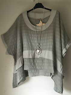 Lagenlook-Boxy Linen &Cotton -Ideal Layering top- -O/S size-12-16 Silver grey