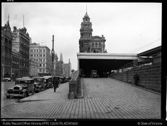 The Milk Ramp at Flinders Street Station, where milk for suburban dairies was transferred from trains to carts and trucks. Melbourne Suburbs, The Great Fire, Melbourne Victoria, The Far Side, World Images, Historical Images, Local History, Old Photos, Street