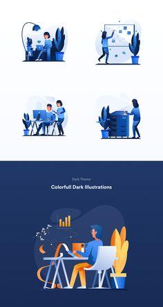 Work & Office Illustrations on Behance Flat Design Illustration, Manga Illustration, Character Illustration, Graphic Illustration, Vector Character, Character Design Animation, Design Ios, Vector Design, Motion Design