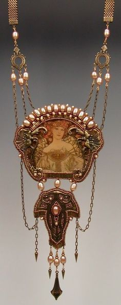 """""""Opulent Spring"""" beaded Mucha necklace by Diane Hyde."""