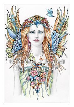 Original Fairy-Tangles Drawing by Norma J Burnell - 4x6 inches, color pencil, ink and graphite on plate bristol paper