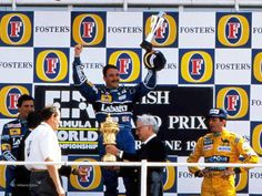 Nigel Mansell and Riccardo Patrese on the podium at Silverstone, after a Williams finish at the 1992 British GP Williams F1, Nigel Mansell, British Grand Prix, F 1, World Championship, Looking Back, Over The Years, The Fosters, Race Cars