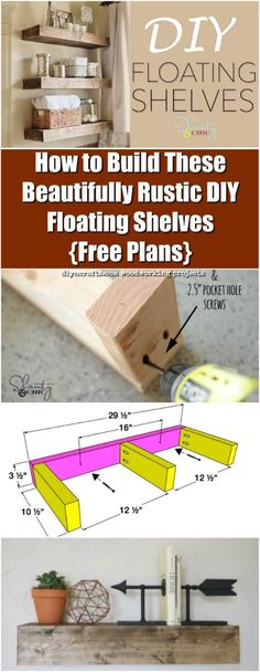 How to Build These Beautifully Rustic DIY Floating Shelves {Free Plans} - If you need to put in new shelving somewhere in your house, what do you do?  I used to go out and buy shelves, but that isn't always the best solution.  Sometimes you need to space your shelves out in such a way that you'd do better with some kind of free-floating solution.  Well, I've found just the thing for that!  Check out a cool new video along with FREE PLANS to make rustic floating shelves which are perfect for…