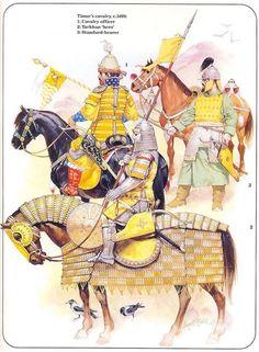 Timur cavalry, c.1400: 1. Cavalry officer 2. Tarkhan 'hero' 3. Standard bearer