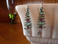 bead and wire Christmas earrings