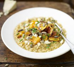 Roasted squash risotto with Wensleydale. A creamy bowl of autumnal comfort makes the perfect vegetarian dinner party dish Bbc Good Food Recipes, Veggie Recipes, Vegetarian Recipes, Cooking Recipes, Vegetarian Dish, Delicious Recipes, Healthy Recipes, Pumpkin Risotto, Butternut Squash Risotto