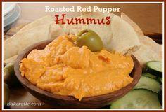 Roasted Red Pepper Hummus http://bakerette.com/roasted-red-pepper-hummus/