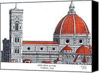 Florence Cathedral Drawing by Frederic Kohli - Florence Cathedral Fine Art Prints and Posters for Sale  Gorgeous art work by my grandfather