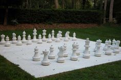 """Yoko Ono, White Chess Set, 1966 photo via In this piece Yoko Ono recreates a chess set with all pieces and squares painted white. A brass plaque underneath the piece read """"Chess set for playing as. Yoko Ono, Chess, Garden Sculpture, Art Photography, Outdoor Decor, Beautiful, Trust, Outdoors, Notes"""