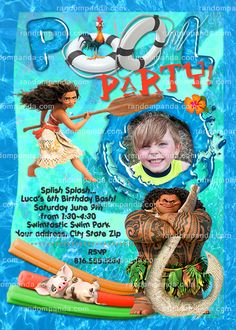Personalize Moana Invitation Maui Pool Party Birthday Invite Luau