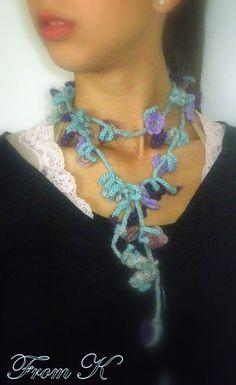 Crochet Accessories, Type 3, Crochet Necklace, Facebook, Flowers, Jewelry, Jewlery, Jewerly, Schmuck
