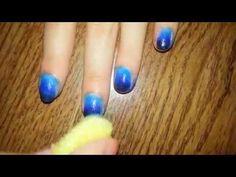 Blue gradient NAIL ART - for SHORT NAILS - http://www.nailtech6.com/blue-gradient-nail-art-for-short-nails/
