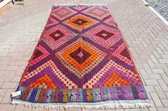 "Turkish Jajim Kilim Rug from Manisa Tribal Handwoven Wool Living Room Decor 118,5 "" x 62 ""  ( 301 x 170 cm )"